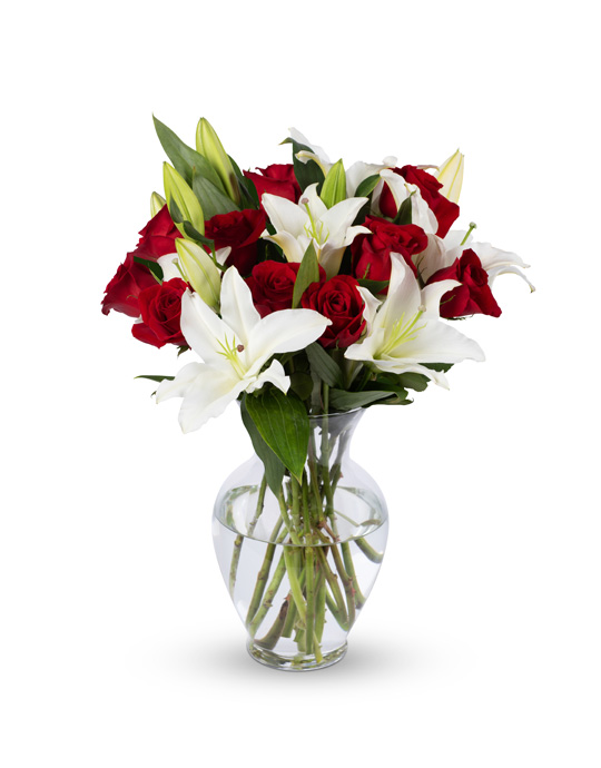 Red Roses and White Oriental Lilies