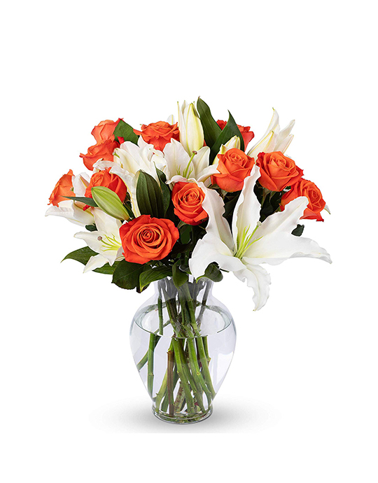 Orange Roses and White Oriental Lilies